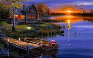 cabin and boat dock sunset