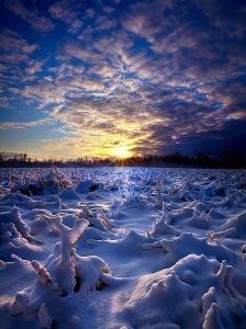 horizon blue snow and ice