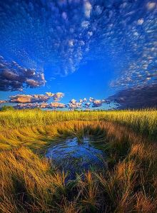 horizon pond and clouds