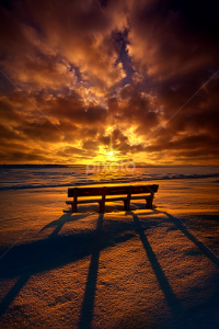 horizons bench in snow red