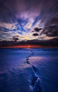 horizons footprints blue snow red sky