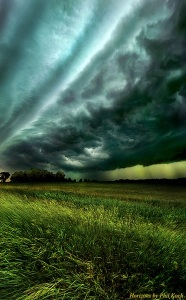 horizon storm clouds green